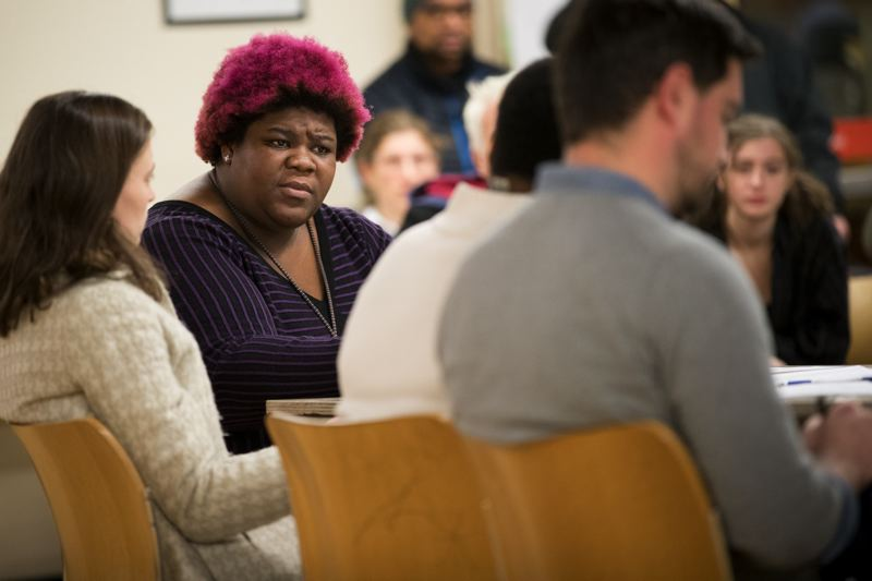 PMG FILE PHOTO - Patrice Mays, left, Trillium Charter School's executive director, asked the Portland Public Schools board Tuesday night, Feb. 26, to keep the small school open as a safe place for LGBTQ students.