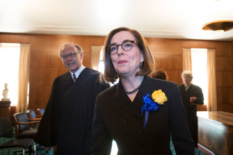 PMG FILE PHOTO - Governor Kate Brown ordered flags flown at half-staff to honor Secretary of State Dennis Richardson, who died Feb. 26.