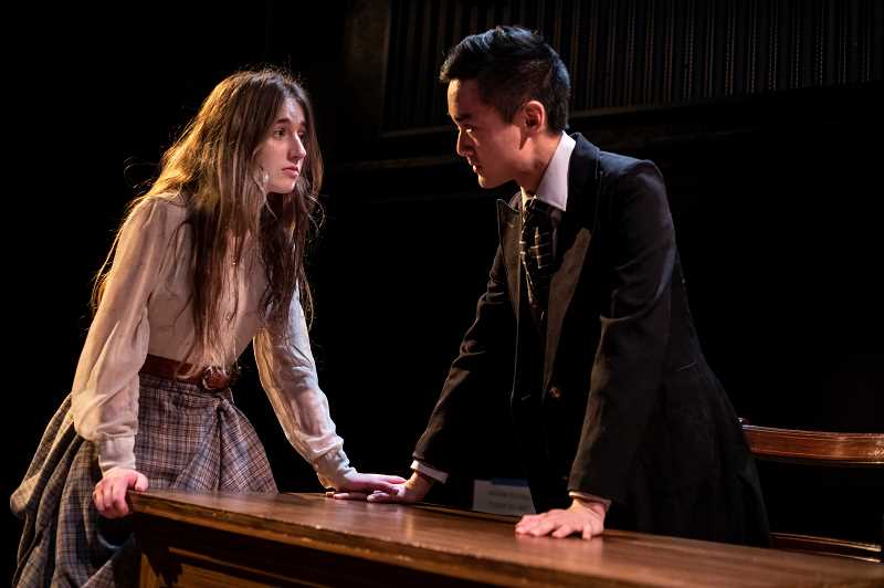 PMG PHOTO: JONATHAN HOUSE - Ashley Yablonsky, playing Isabella, left, and Philip Chan, playing Angelo, rehearse for the WLHS production of 'Measure For Measure.'