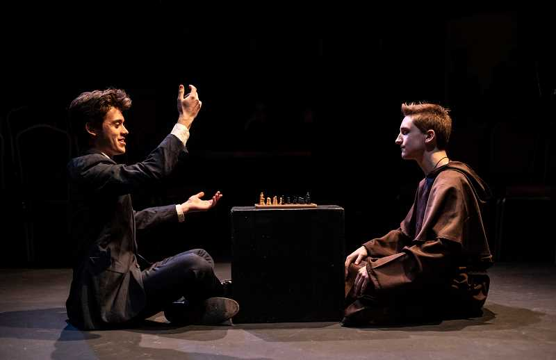 PMG PHOTO: JONATHAN HOUSE - Dylan Leebrick, left, playing Duke Vincentio, and Jack Gordon, playing Friar Thomas, rehearse for the WLHS production of 'Measure For Measure.'