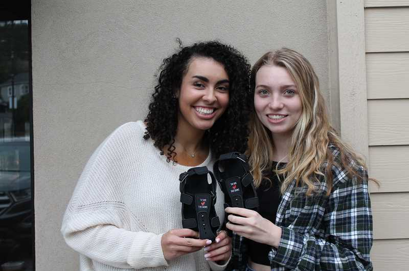 PMG PHOTO: HOLLY BARTHOLOMEW - Teagan Sheffield and Lauren Jones will travel to Renjiri, Uganda this summer on a mission trip. Sheffield hopes to raise enough money to bring 1,000 adjustable shoes from A Shoe that Grows.