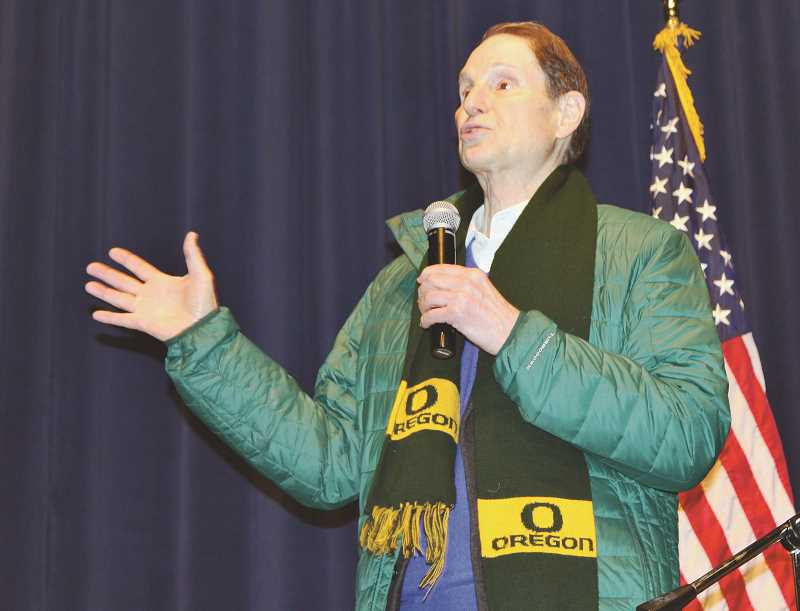 HOLLY M. GILL/MADRAS PIONEER - U.S. Sen. Ron Wyden holds his 930th Oregon town hall in Madras on Friday, Feb. 22, at the Madras Performing Arts Center. The senator spoke about a range of issues, including the newly passed CRR Fire Protection Act.