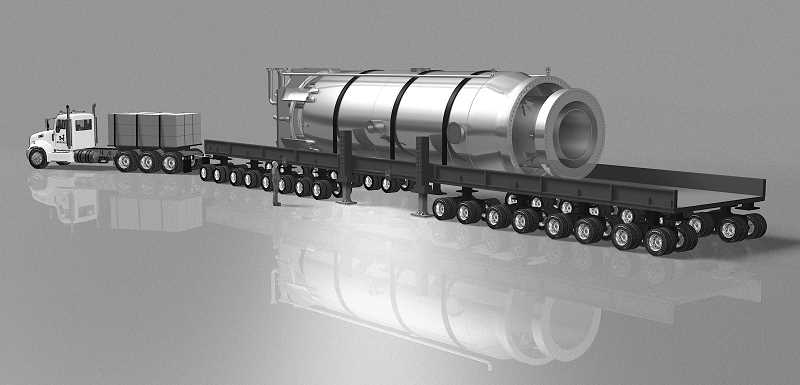 PHOTO COURTESY OF NUSCALE POWER LLC - An artist's rendering shows a factory-built NuScale Power Module being delivered to a site for installation.