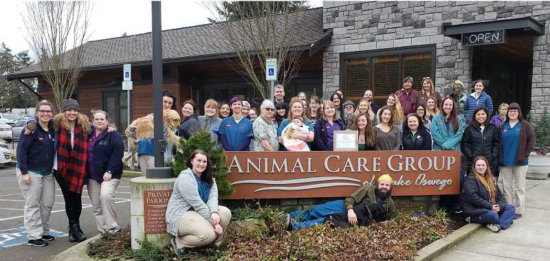 SUBMITTED PHOTO  - Animal Care Group of Lake Oswego was awarded Gold-level certification this month for its sustainable practices by Clackamas County. It is the only veterinary hospital in Clackamas County to achieve this status. To achieve the distinction, ACG adheres to the principles of the Triple Bottom Line: econonic, ecological and social sustainability. The practice put a strong emphasis on monitoring things such as smart recycling, reducing material consumption, energy conservation, water conservation, community engagement and more. Animal Care Group is located at 3996 Douglas Way in Lake Oswego. Learn more online at acglo.com or call 503-850-6288.