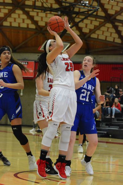 PMG PHOTO: DAVID BALL - Mt. Hoods Rachel Watson attacks the basket. She put up a team-high 16 points in the teams 74-73 loss to Clackamas.