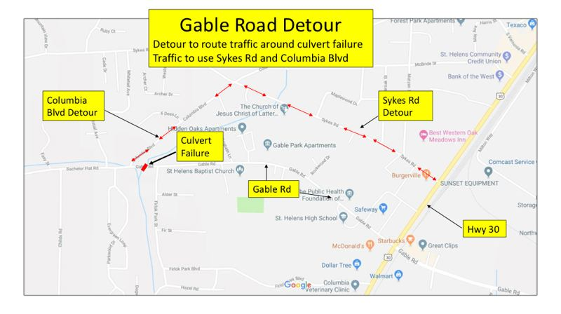 IMAGE COURTESY OF COLUMBIA COUNTY ROADS DEPARTMENT - A diagram shows detour routes in St. Helens while road crews work to repair streets damaged by flooding in February.