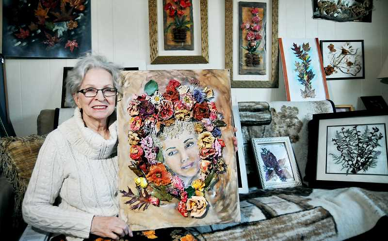 GARY ALLEN - Newberg's Dee Miller incorporates pieces of nature in her art work, then blends them with paints and other media.