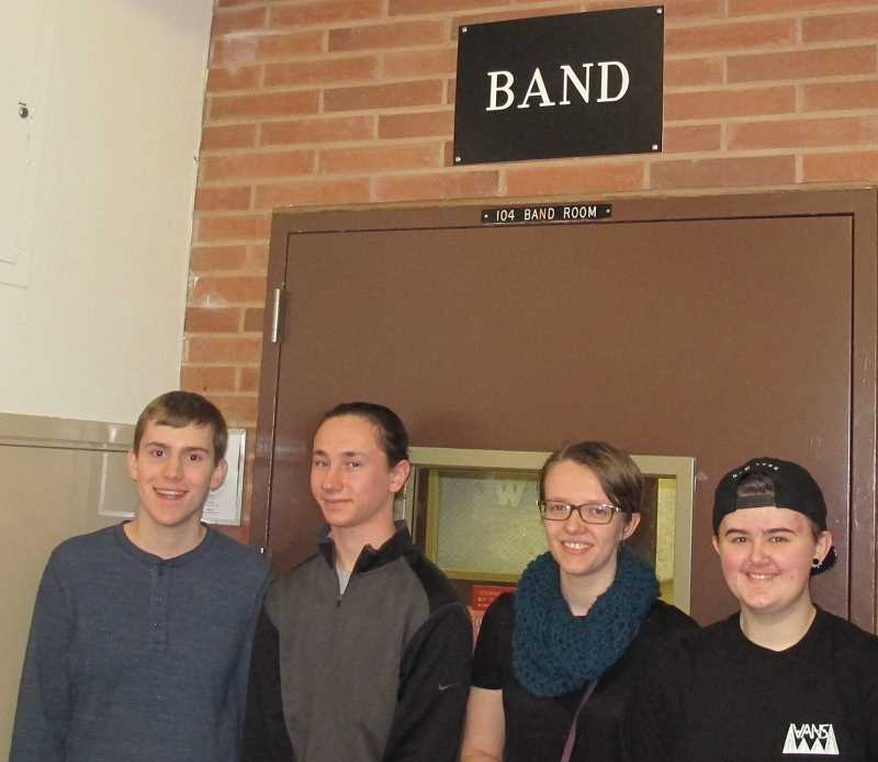 Four of the five musicians from Wilson High School named to the PPS All-City High School Honor Band, left to right, are, Anthony Piacentini (trombone), Kelson Gipp (French horn), Becca Merkel (trumpet) and Oli Devereux (tuba). Missing: Ryuu Joy.