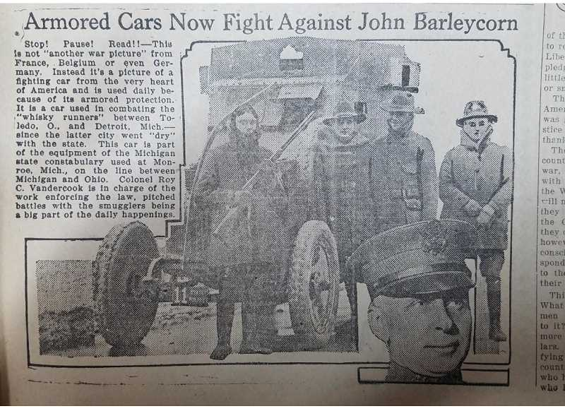 FILE PHOTO - The Madras Pioneer ran a photo of an armored car used to enforce laws to stop the smuggling of alcohol in 1919.