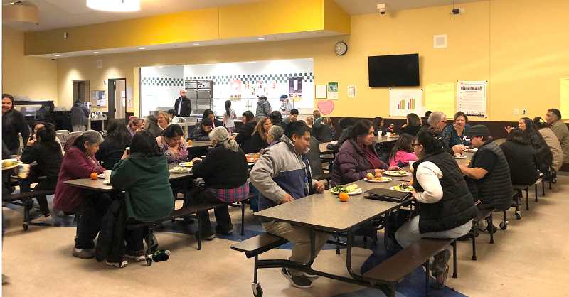 SUBMITTED PHOTO - Parents and family members attend the dinner prior to the Jefferson County School District Community Engagement Process meal and event on Wednesday, Feb. 13, at Warm Springs K-8 Academy.
