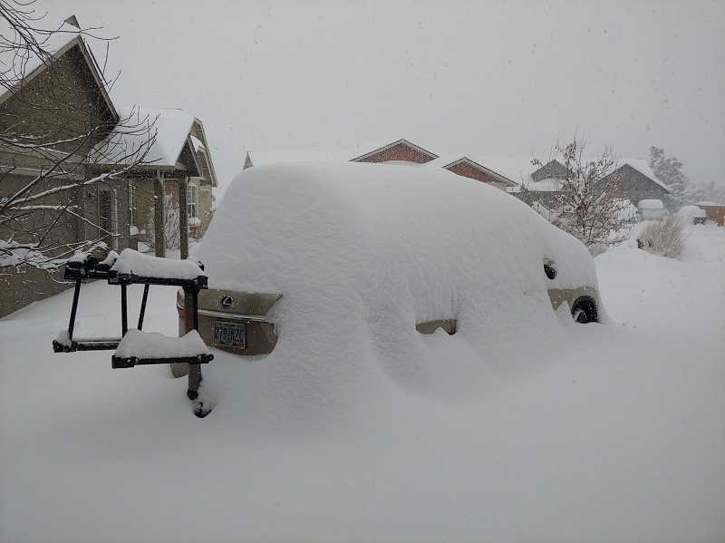 COURTESY PHOTO - As promised, here's a picture of snow-buried Central Oregon. This was taken in Redmond, Oregon this week.