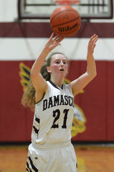 PMG PHOTO: DAVID BALL - Damascus Christians Noelle Wakefield knocked down four 3-pointers on her way to a game-high 14 points in the Eagles 47-39 quarterfinal win over Days Creek on Thursday.