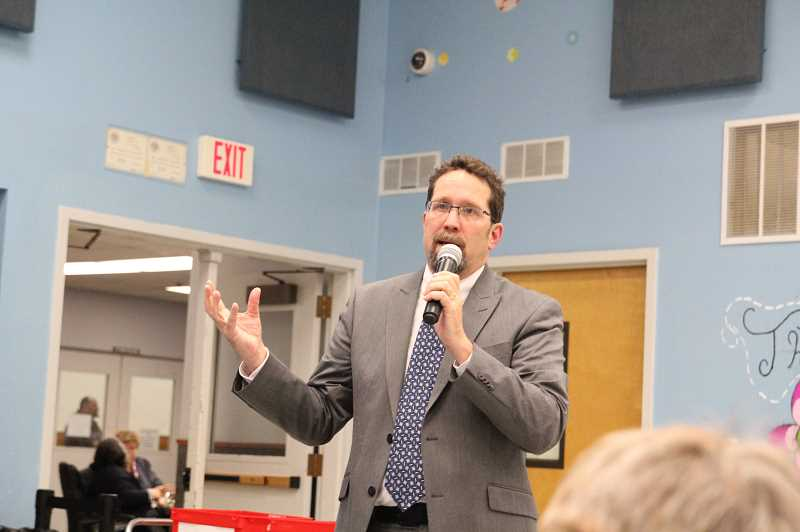 PMG PHOTO: JUSTIN MUCH - Gervais School District superintendent candidate Brad Capener addresses a gathering at Gervais Elementary School Thursday, Feb. 28.