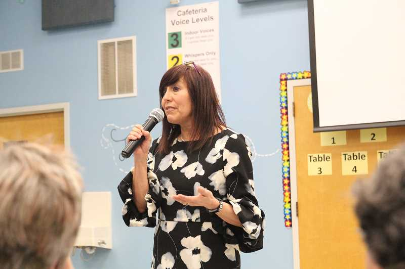 PMG PHOTO: JUSTIN MUCH - Gervais School District superintendent candidate Ann OConnell addresses a gathering at Gervais Elementary School Thursday, Feb. 28.