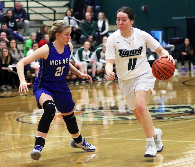 PMG PHOTO: DAN BROOD - Tigard senior Paige LaFountain (right) brings the ball up court against McNary senior Abigail Hawley during Thursday's state playoff game.
