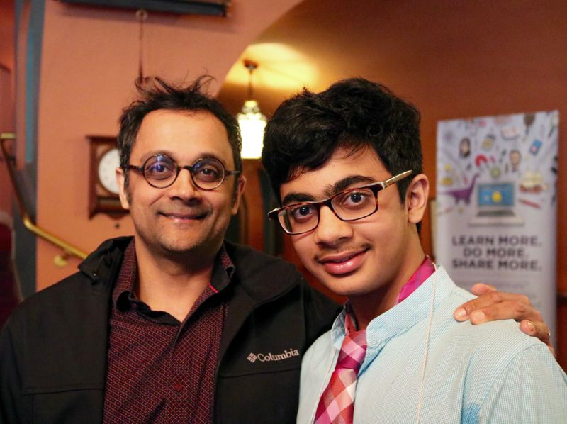 Kabir Rathore Muthu, a seventh grader at Access Academy, was the winner of the 2018 Pamplin Media Regional Spelling Bee. Shown here with his father, Prabu Muthu, Kabir went on to finish 42nd overall at the 2018 National Spelling Bee in Washington DC where he competed against hundreds of other spellers from around the nation.