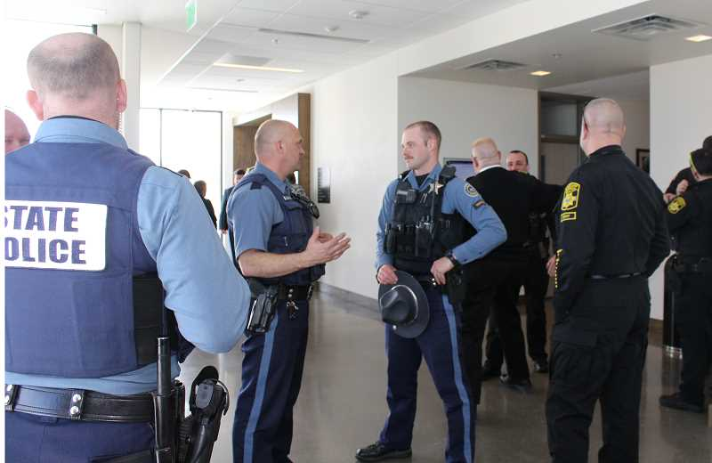 HOLLY M. GILL/MADRAS PIONEER - About two dozen law enforcement officers attended the sentencing for Christopher James Thomas Sweeney, 20, of Sunriver, who was sentenced to 20 years in prison for attempting to shoot at two officers in November 2017.
