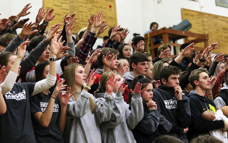 PMG PHOTO: DAN BROOD - Sherwood High School students gave the Bowmen strong support throughout Friday's state playoff game at the Marshall Campus.