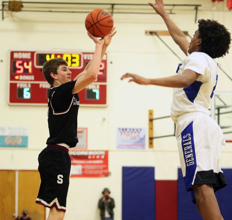 PMG PHOTO: DAN BROOD - Sherwood High School sophomore Asher Krauel (left) takes a jump shot during Friday's state playoff game with Grant.