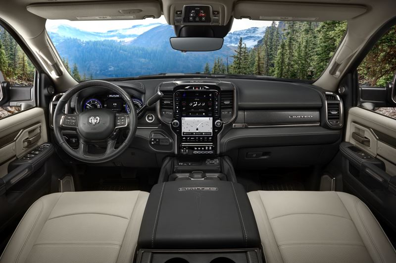 COURTESY RAM - The 2019 Ram 3500 HD can be ordered with every luxury options, including a leather interior and a 12-inch infotainment screen. All feature active noise cancellation technology that makes the cabin whisper-quiet.