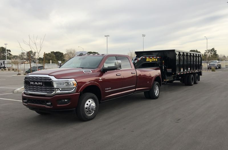 PORTLAND TRIBUNE: JEFF ZURSCHMEIDE - During a day of testing, we pulled a 15,000-pound dump trailer on a gooseneck hitch for almost 100 miles very comfortably with a 2019 Ram 3500 HD truck.