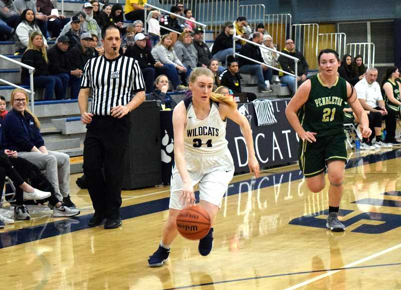 SPOKESMAN PHOTO: TANNER RUSS - Wilsonville junior Renee Lee was a strong shooter from beyond the arc, knocking down three 3-pointers in the contest.