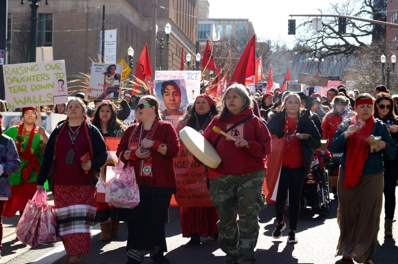 TRIBUNE PHOTO: ZANE SPARLING - A group of indigenous women head the procession during the 2019 Womxn's March in downtown Portland on Sunday, March 3.