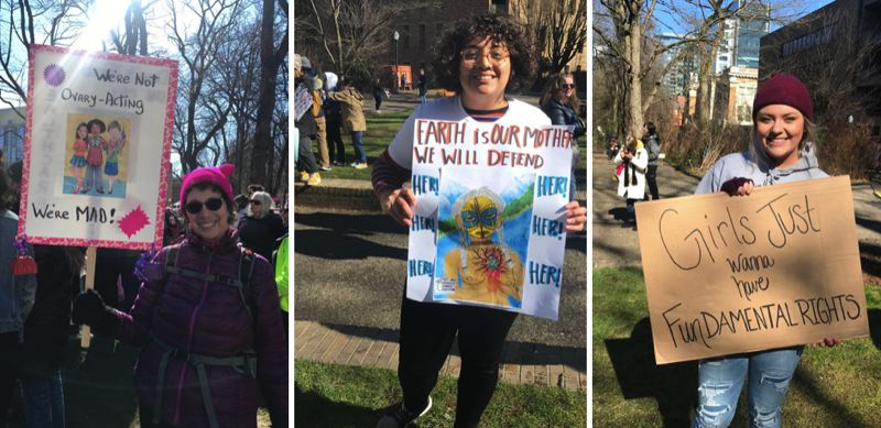 TRIBUNE PHOTOS: ZANE SPARLING - FROM LEFT: Barbara Chapnick, Alejandra Ruiz and Madison Lausche attended the 2019 Womxn's March in Portland on March 3.