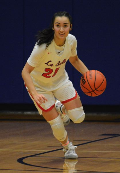 PMG PHOTO: DAVID BALL - La Salle point guard Alyson Miura put up 19 first-half points, sending the Falcons into halftime with a 38-5 lead.