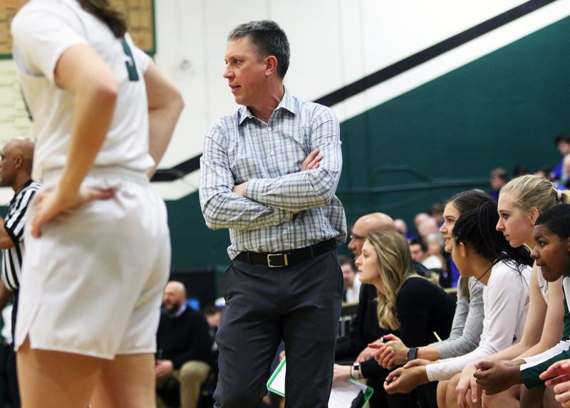 PMG PHOTO: DAN BROOD - Tigard High School coach Steve Naylor watches the action during the Tigers' state playoff win over Grants Pass on Saturday.