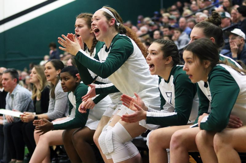 PMG PHOTO: DAN BROOD - Tigard High School junior Emily Paulson cheers on her teammates during Saturday's Class 6A state playoff game.