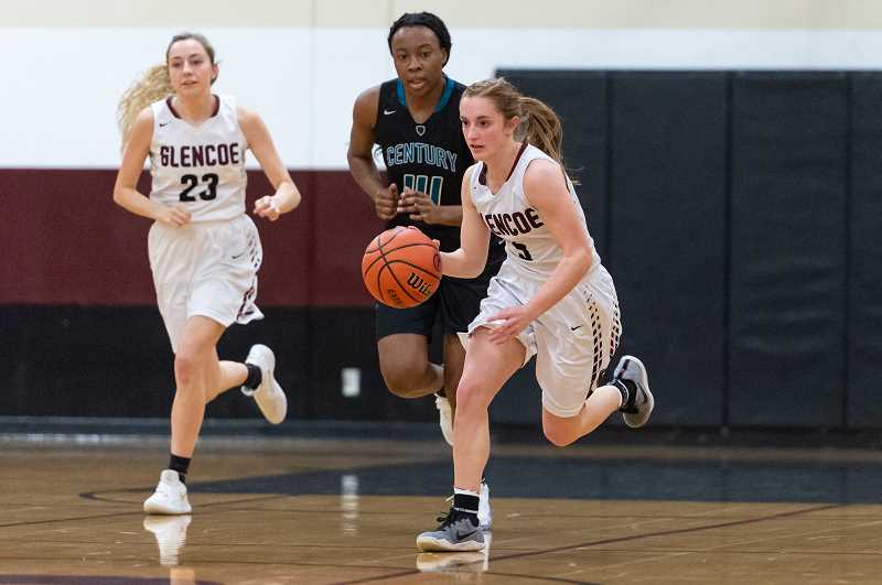PMG PHOTO: CHRISTOPHER OERTELL - Glencoe's Morgan DeBord during a game earlier this season. DeBord was selected as the Pacific Conference Player and co-Defensive Player of the Year.