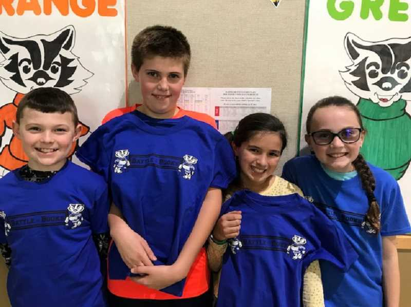 PHOTO SUBMITTED BY SARAH KLANN  - The Barnes Butte Elementary O'Bobbers Battle of the Books team will face the Bookworms in the championship battle Friday afternoon. Pictured left to right, Hoyt Kudlac, Caleb Decker, June Conner and Eleanor Klann.