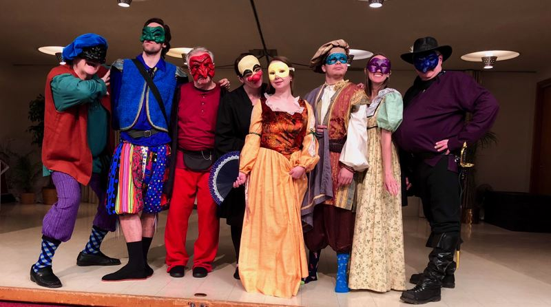 SUBMITTED PHOTO - The cast of 'A Company of Wayward Saints,' from left to right, includes: Dennis Proulx (Harlequin), Whitman Craig (Scapino), John Carmichael (Pantalone), Sara McNaughton (Dottore), Olga Kravtsova (Ruffiana), Adrian Guillen (Tristano), Kendra Munroe (Isabella), and Thomas Machiavelli (Capitano). Not pictured is Rebecca Brown (Columbine).