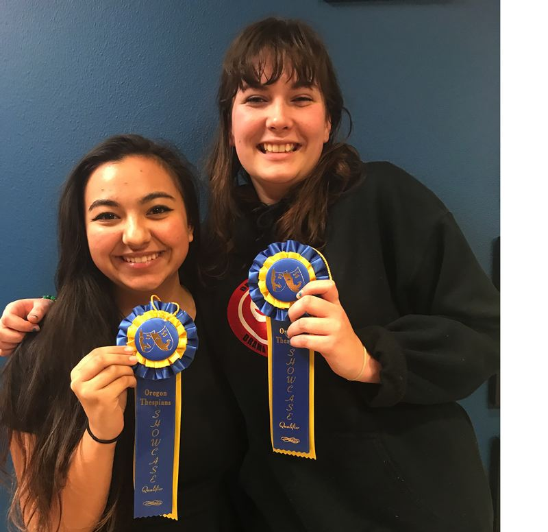 PHOTO BY CLYDE BERRY - Oregon City High School thespians Ellie Lundgreen and Alissa Damewood scored in the top 10 percent at the regional conference and will advance to the state finals in April.