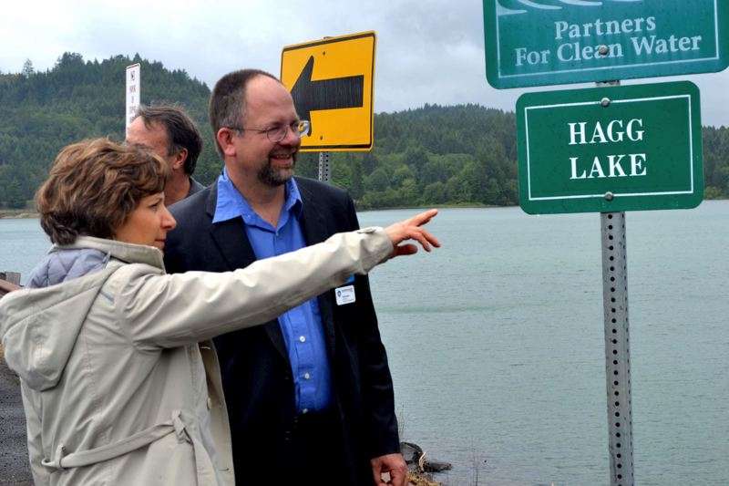 PMG FILE PHOTO - U.S. Rep. Suzanne Bonamici and former county Chair Andy Duyck tour Hagg Lake and Scoggins Dam last May.