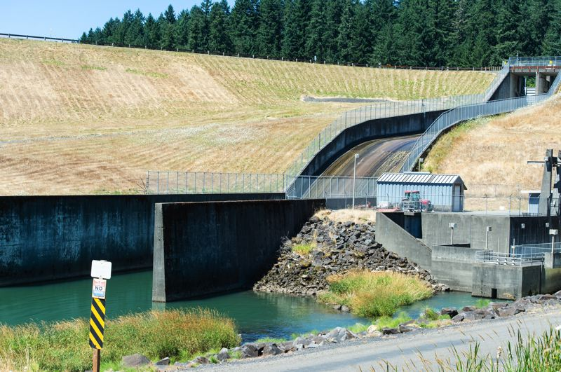 PMG PHOTO: CHRISTOPHER OERTELL - If the plan to raise the height of the Scoggins Dam by 15 feet is approved, this spillway will have to be demolished and a new one put in.