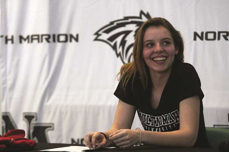PMG PHOTO: PHIL HAWKINS - Morcom signed as Multnomah University's top recruit in February, joining teammate Paige Martin as the only two North Marion volleyball players in program history to sign for an NAIA progrma.