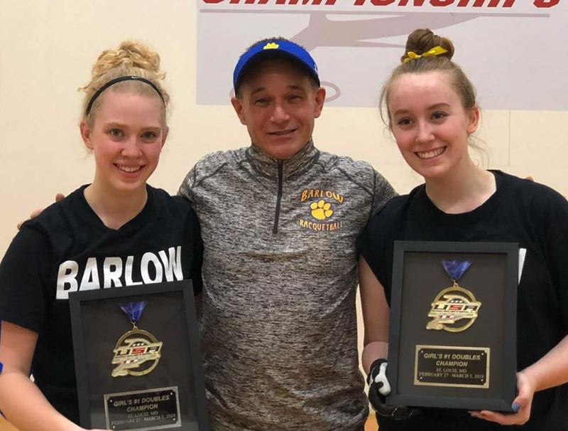 PHOTO COURTESY: TRACY KLINGER - Barlow racquetball coach Brian Ancheta stands with Annie Roberts (left) and Kelsey Klinger after winning the gold doubles bracket at the high school national tournament last week in St. Louis, Missouri.