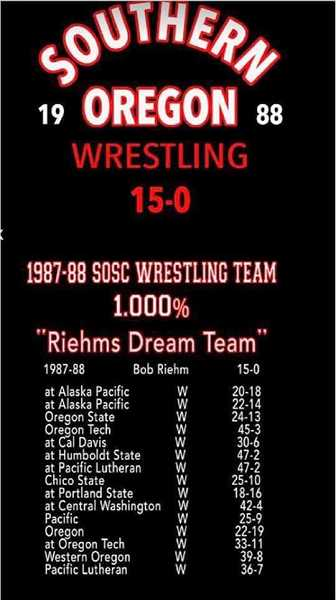 SUBMITTED PHOTO - The 1988 Southern Oregon wrestling team's 15-0 duel record, coached by Bob Riehm, included Culver's J.D. Alley anchoring the team.