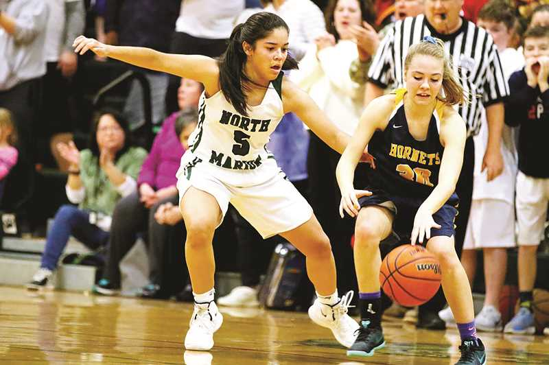 COURTESY: JO WHEAT - The North Marion senior Mar Verastegui was held to a season-low two points in the team's first-round victory over Henley on Saturday.