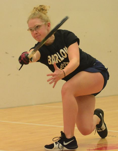 PMG PHOTO: DAVID BALL - Barlows Annie Roberts swings through on a serve. She outscored her four opponents 120-30 on her way to the singles title at high school Nationals.