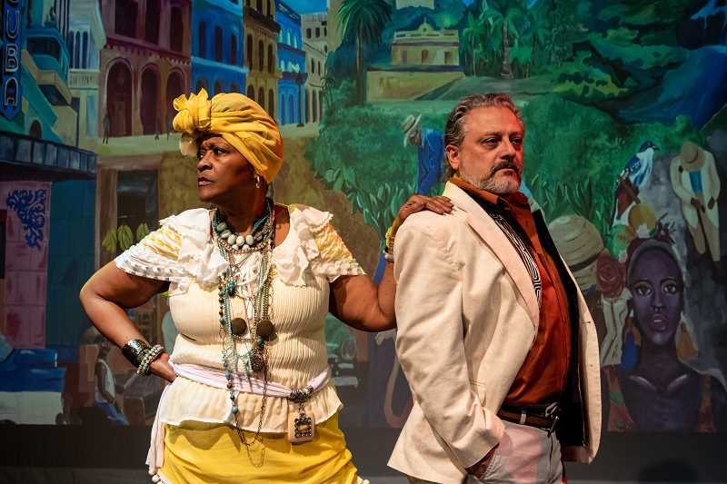 """COURTESY PHOTO: BAG&BAGGAGE PRODUCTIONS - Shelley B. Shelley and Anthony Green star as Hermione and Leonte in Bag&Baggage's """"An Island in Winter/La Isla en Invierno."""""""
