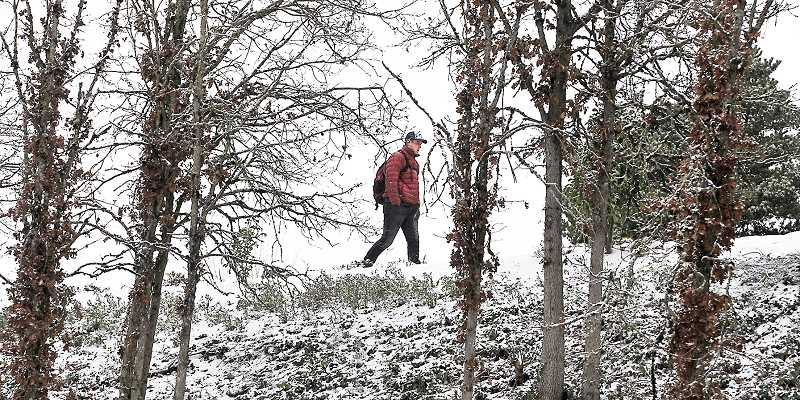 GARY ALLEN - A shivering pedestrian makes his way north on Highway 99W near Hoover Park during the area's short snow storm.