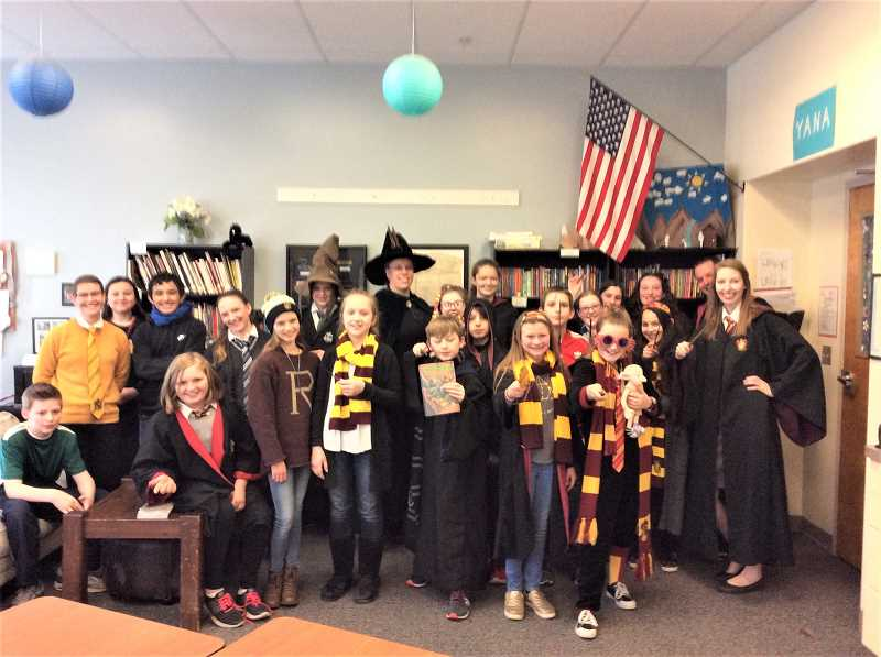 COURTESY PHOTO: ESTACADA MIDDLE SCHOOL - A group of teachers and students at Estacada Middle School dresses as Harry Potter characters on Friday, March 1.