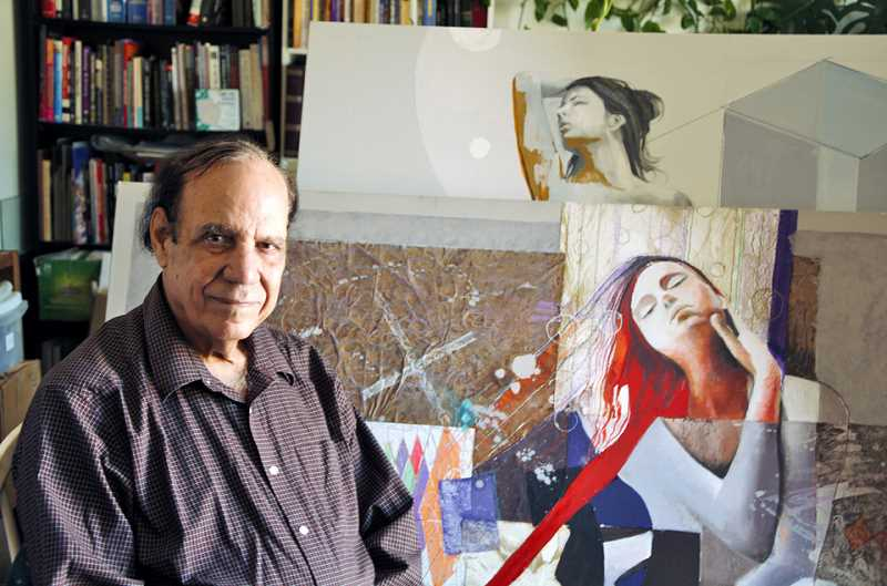 Farooq Hassan with his art.