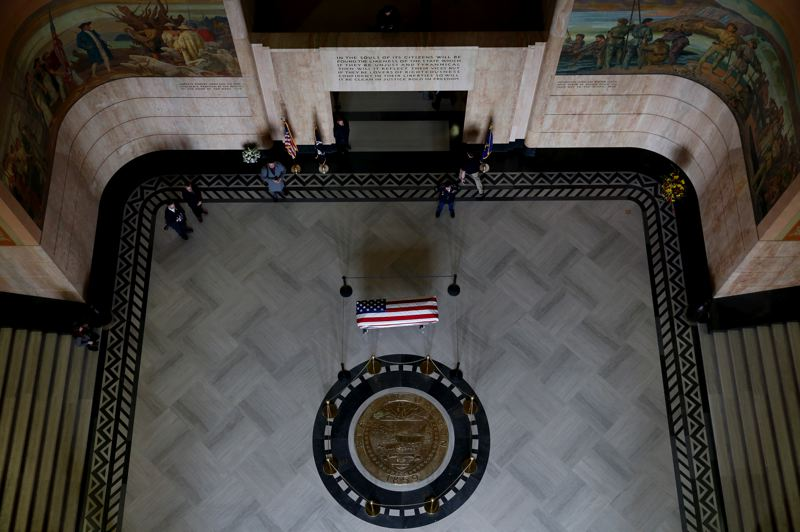 COURTESY PHOTO: CONNAR RADNOVICH/STATESMAN JOURNAL - Mourners paid respects Wednesday morning, March 6, as the late Secretary of State Dennis Richardson's body lay in state in the Capitol rotunda.