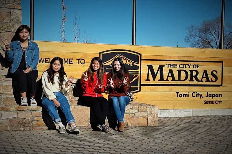 SUBMITTED PHOTO - This year's group of Madras High School students travel to Madras' Sister City, Tomi City, Japan, in June. They include, from left, Kiandra Smith, Kimberly Juarez, Katherinne Parodi and Elan Rios. The students need to raise $8,000 for the trip.