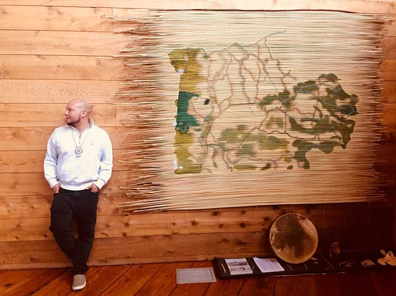 SUBMITTED PHOTO - Warm Springs artist Jefferson Greene recently completed a large map, which he made from only natural materials, which he plans to donate to the Museum at Warm Springs for safekeeping.