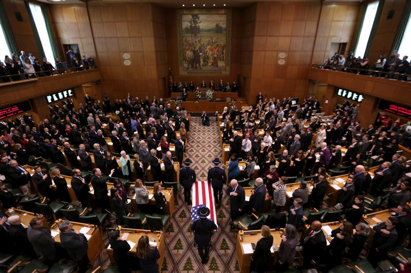 COURTESY PHOTO: CONNAR RADNOVICH/STATESMAN JOURNAL - Legislators and others gathered Wednesday afternoon, March 6, at the state funeral for Secretary of State Dennis Richardson, who died Feb. 26 in Central Point.